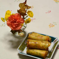 花と料理で楽しむ♪ハッピーハロウィン カボチャとチーズの春巻き