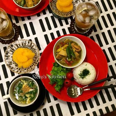 タイ風グリーンカレー・春菊と椎茸の卵スープ♪