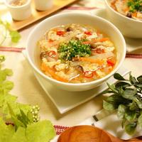 野菜やきのこ、ひき肉の優しい出汁の旨みと香味野菜、スパイスでおいしく減塩~☆冷製でも美味~♪ ピリ辛!!具だくさん彩りヘルシーさっぱり減塩スープ -Recipe No.1573- 【Japanese】