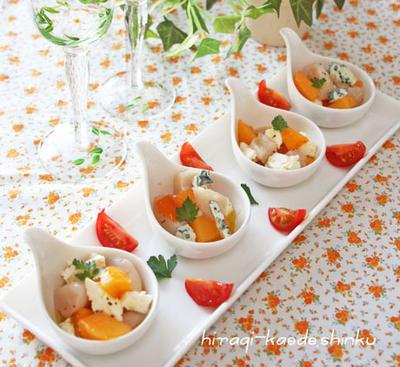 簡単おしゃれ前菜*ホタテ×柿×クリームチーズ(orブルーチーズ)、ワインみたいな日本酒