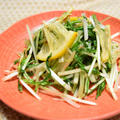 水菜の浅漬け風サラダ。たっぷりの水菜がぺろりと食べられるさっぱりおつまみ。
