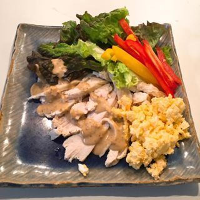 蒸し鶏と彩り野菜のサラダ!鶏むね肉がとっても柔らかい!