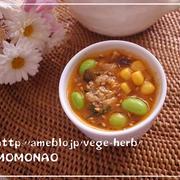 素麺のつけダレにもなる♡枝豆コーンたっぷり坦々スープ