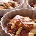 <スパイスでできのことベーコンのチーズ焼き>