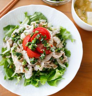 【レシピ】ニラだれでさっぱり!スタミナおかず。『豚しゃぶサラダ中華風ニラだれ』