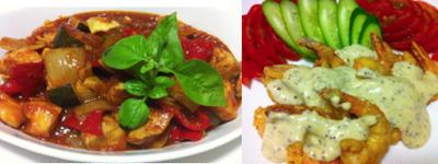 美味しいトマトソースでカチャトーラ、海老の粒マスタード、豆腐煮込み 他