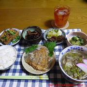 【夕食】鶏だし稲庭うどん・なめたかれいから揚げ・青梗菜ごま和え…