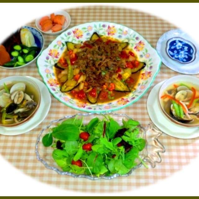 肉野菜炒めに蛤のスープ