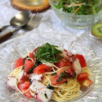トマトとたこのねぎ塩冷製パスタ。