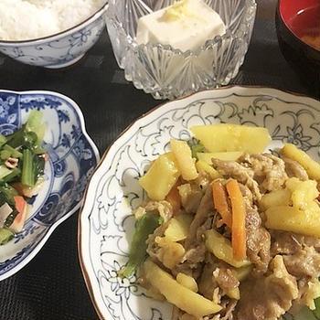 ココア、オレオのトライアル&豚肉とジャガイモのカレー炒め