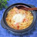 ぐつぐつはご馳走。お夜食にも。トマト味が優しい『キャベツトマト鍋焼きパスタ』