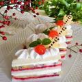 レシピ*簡単♪クリスマスのレアチーズケーキ風サンドイッチケーキ