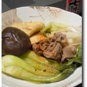 青梗菜と揚げと牛肉の蒸し焼き