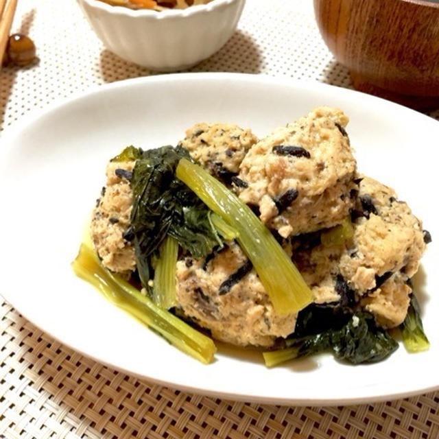 高野豆腐でふわふわ♪鶏つくねの煮物♫