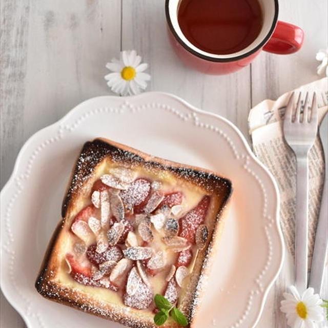 市販のプリンで作る!いちごのキッシュトースト~strawberry quiche toast~