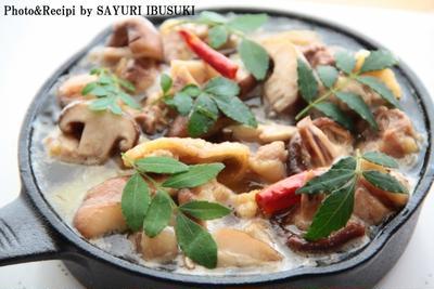 松風地どり霜降りもも肉で和風アヒージョ~GABANスパイスで減塩レシピ~