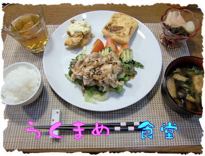 猛暑日!【豚冷しゃぶサラダ】&【焼きエビフライ】の定食♪