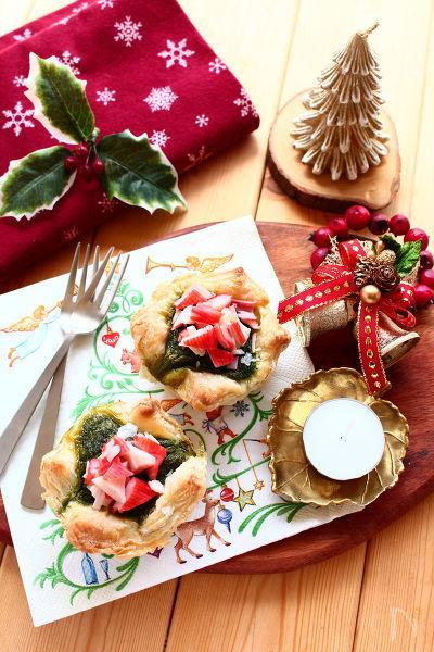 カニかまとほうれん草のクリスマスミニパイ