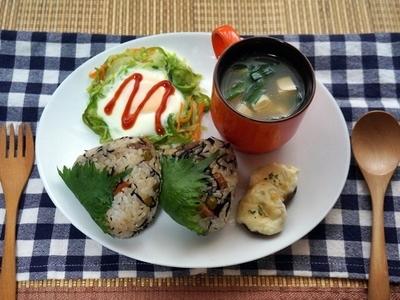 野菜いっぱい!おにぎりの朝ごはんプレート