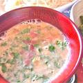 油味噌胡麻だれで素麺つゆを。ピーマンの油味噌炒めとともに