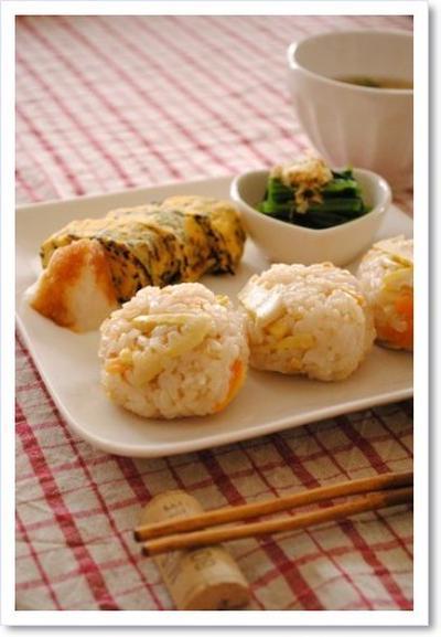 竹の子ご飯のおむすびプレート*