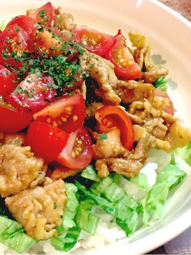 3.即興で簡単!タコライス風カレー豚丼
