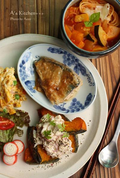 サバ味噌煮とかぼちゃサラダ