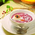 ハロウィン♪紫芋パウダーで簡単かぼちゃの魔女スープ 目玉入り by *ももら*さん