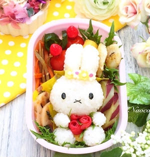 ミッフィーと薔薇の春弁【キャラ弁】