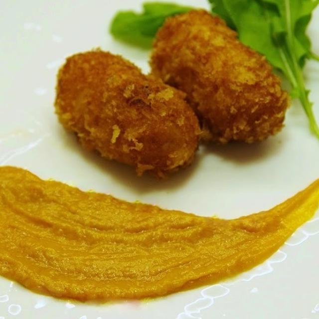 蟹クリームコロッケ と 明太子スパゲッティー