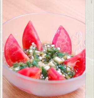 オクラのポン酢ジュレ風冷やしトマト