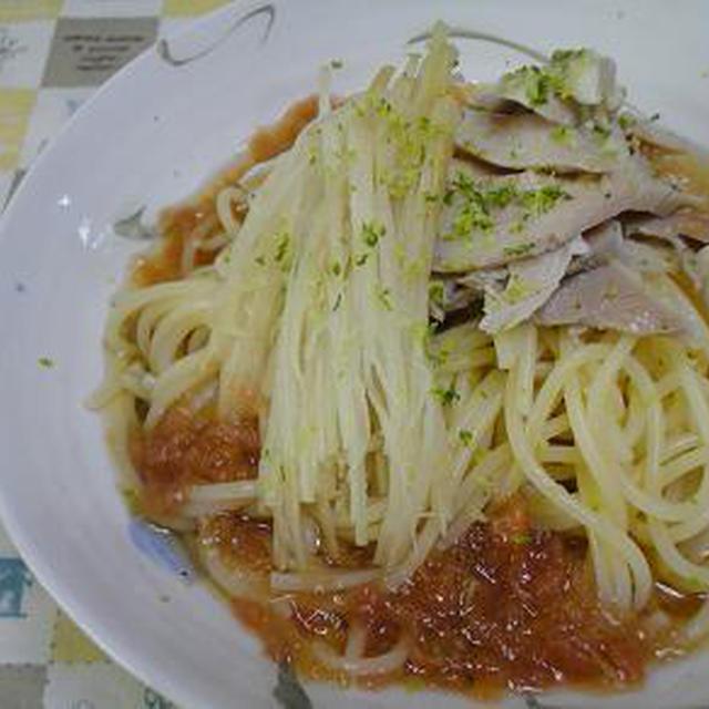 ☆すっぱ♪爽やか~梅スープの冷製チキンパスタ☆