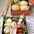 小海老と玉子そぼろの手毬寿司とサーモンとクリチー春巻きのお弁当