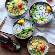 3色裏巻き寿司と素麺のお弁当♪