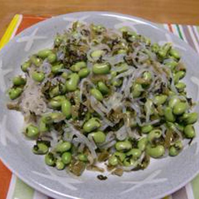 さっぱりと美味しい炒めものです!!枝豆と糸こんにゃくの炒めもの