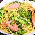 魚肉ソーセージと菜の花のペペロンチーノ|レシピ・作り方