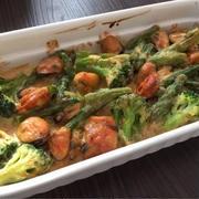 ムール貝とブロッコリーの味噌マヨ焼き、うにひしお