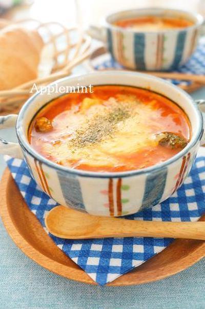餅入りトマトグラタンスープ