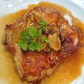 カリカリチキンソテーにサクサクガーリックのせ(鶏もも、鶏肉)