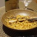 秋刀魚のバター肝醤油パスタと豆腐とホヤのゆず酒ドレッシングサラダ