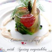 春野菜のゼリー寄せ レモンソースwithカラフルペパー添え