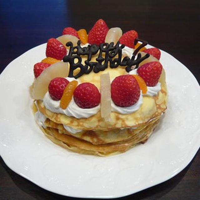 フライパンでバースデーケーキ☆ミルクレープデコケーキ