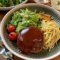 ふわふわ豆腐ハンバーグ&レンジde付け合わせチーズパスタ【#簡単レシピ#時短#節約#ワンプレート#カフェ風】