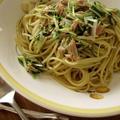 水菜とツナのバジルソースパスタ