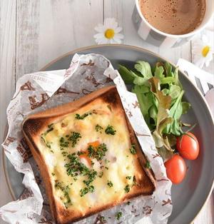 とろ~り卵が溶けだす!ポテサラポケットの卵トースト~potatosalad quiche toast~
