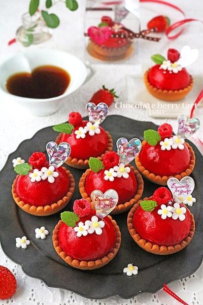 ラズベリーチョコムースのバレンタインミニタルト♪cottaバレンタイン特集
