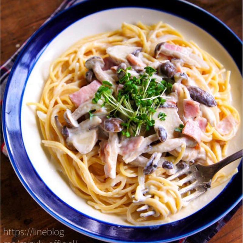 きのこをたっぷり食べられる♪「クリームパスタ」のおすすめレシピ