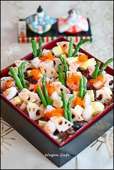 アスパラ&甘辛牛肉 ちらし寿司で、お雛祭り♪
