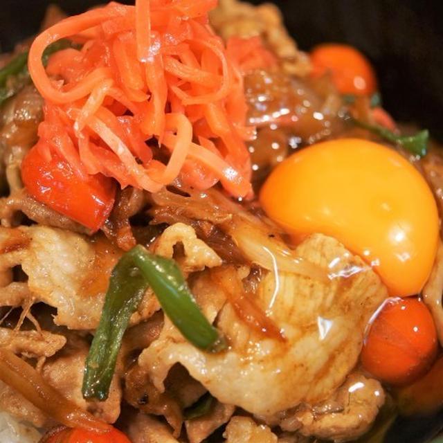 ■晩ご飯【簡単5分!!牛丼のタレでミニトマト入り豚丼を作りましたが美味しかったです♪】