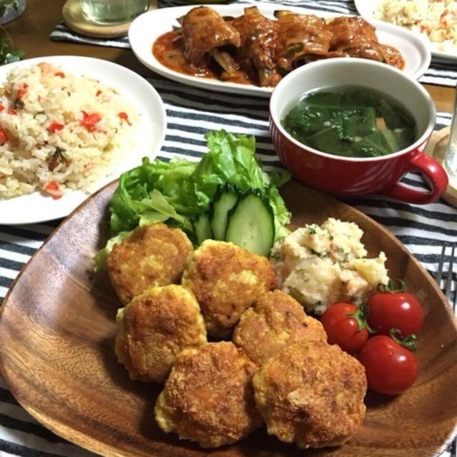 お豆腐と胸肉のカレーナゲット♪残りもののアレを使って?大満足な晩ごはん♪